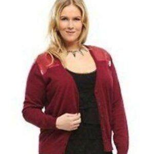 Torrid Sequin Embellished Red Cardigan Size 2